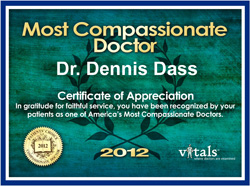Dr Dennis Dass, MD Most Compassionate Doctor Award 2012.jpg