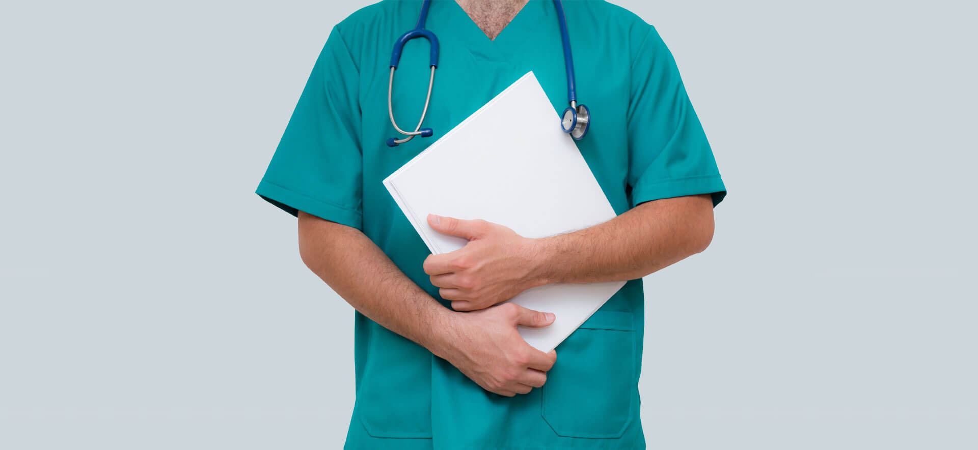 Doctor with stethoscope and holding file isolated on grey background