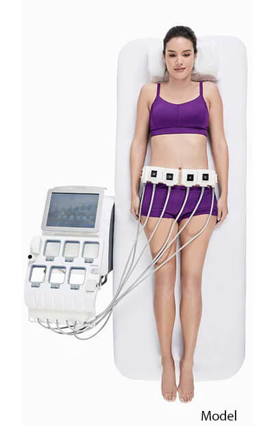 Woman receiving TruSculpt ID fat reduction treatment